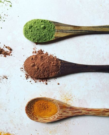 Matcha turmeric and cacao powder