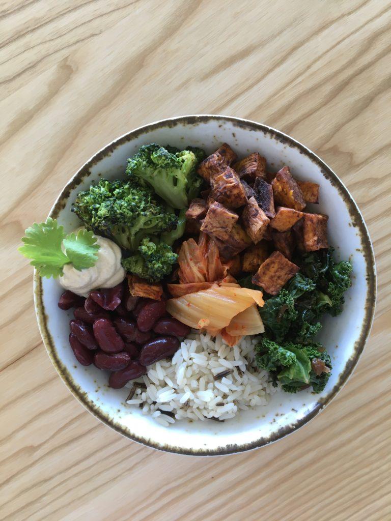 Macrobiotic Bowl: Sweet potato, tahini ginger miso dressing, brown rice, red kidney beans